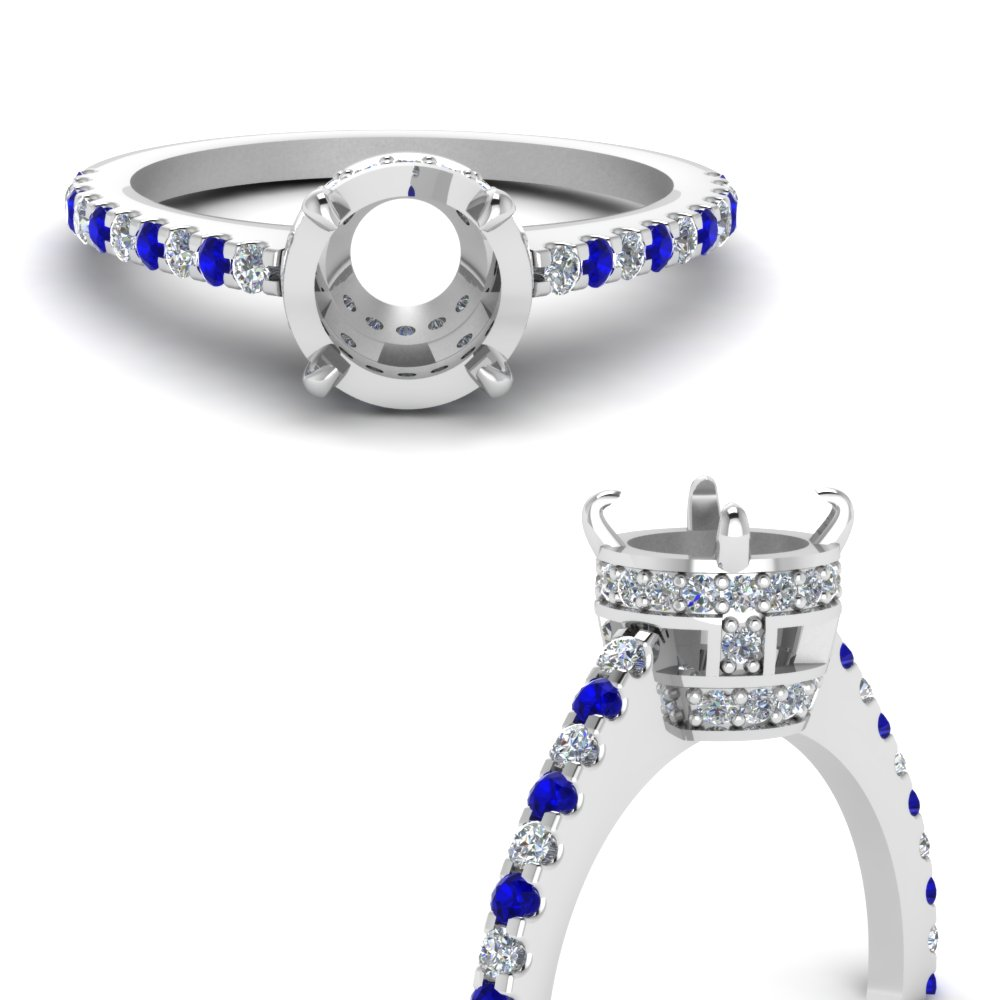 petite crown semi mount diamond engagement ring with sapphire in FD1053SMRGSABLANGLE3 NL WG.jpg