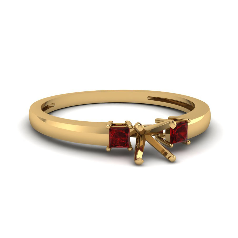 3 stone semi mount engagement ring with ruby in 14K yellow gold FDENS3107SMRGRUDR NL YG