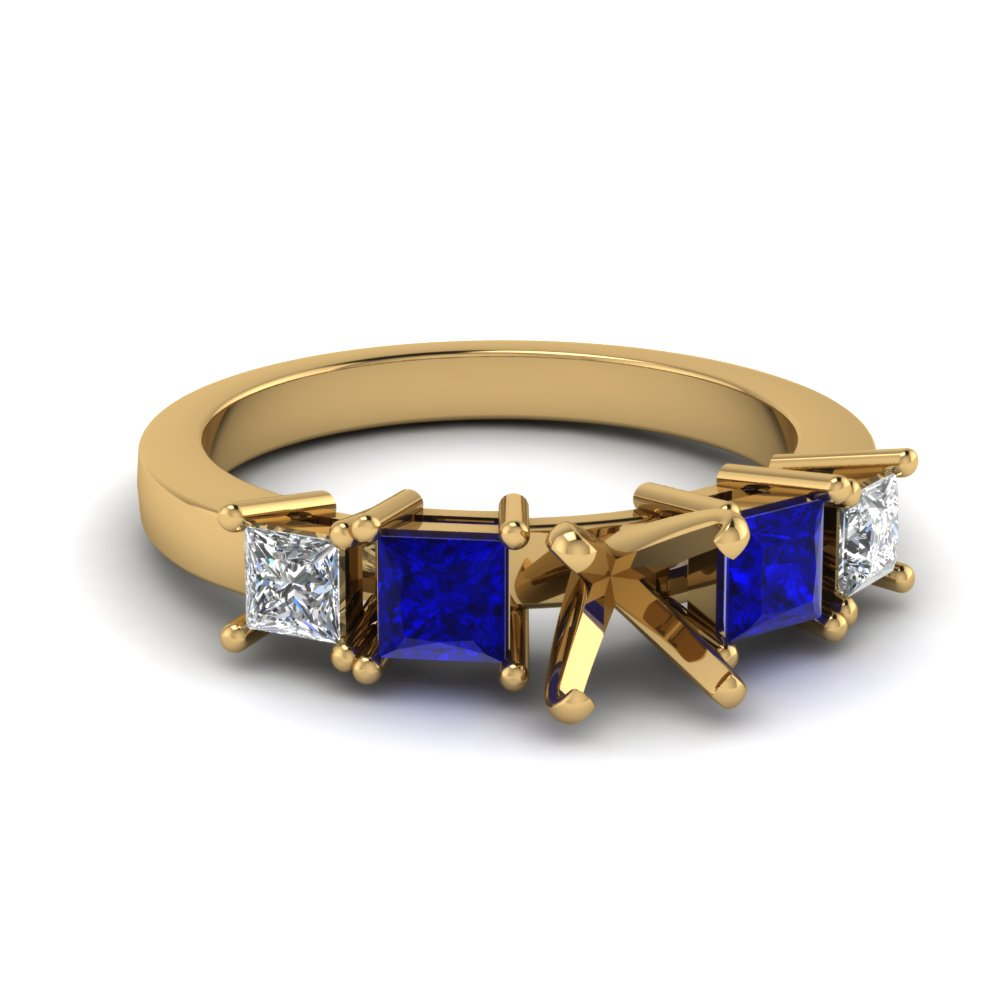 basket semi mount 5 stone engagement ring with sapphire in FDENR1012SMRGSABL NL YG