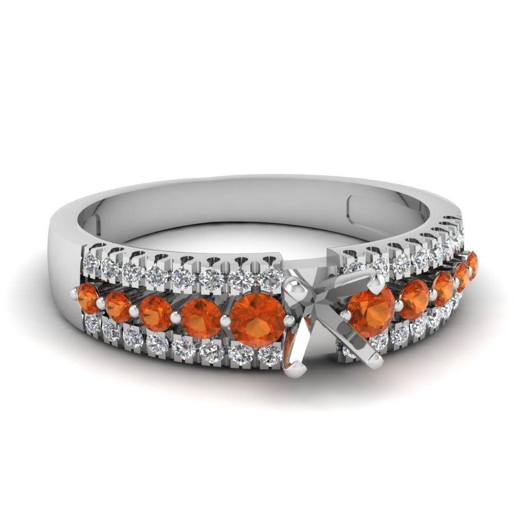 semi mount white diamond engagement ring with orange sapphire in FDENS3014SMRGSAOR NL WG