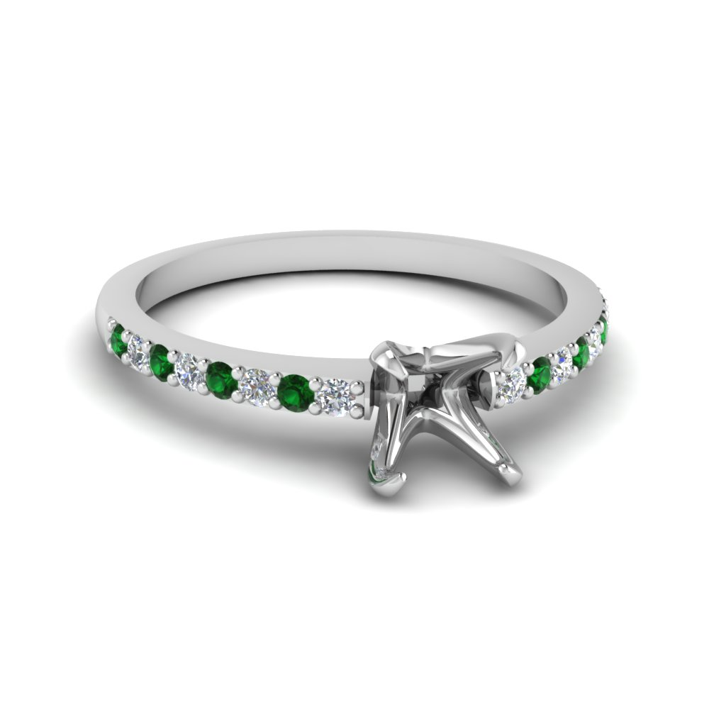 Semi Mount Emerald Petite Ring
