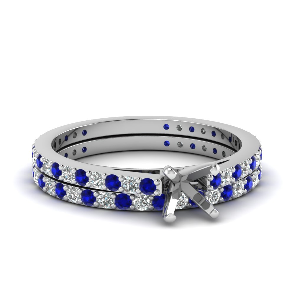 classic delicate semi mount diamond wedding set with sapphire in FDENS1425SMGSABL NL WG