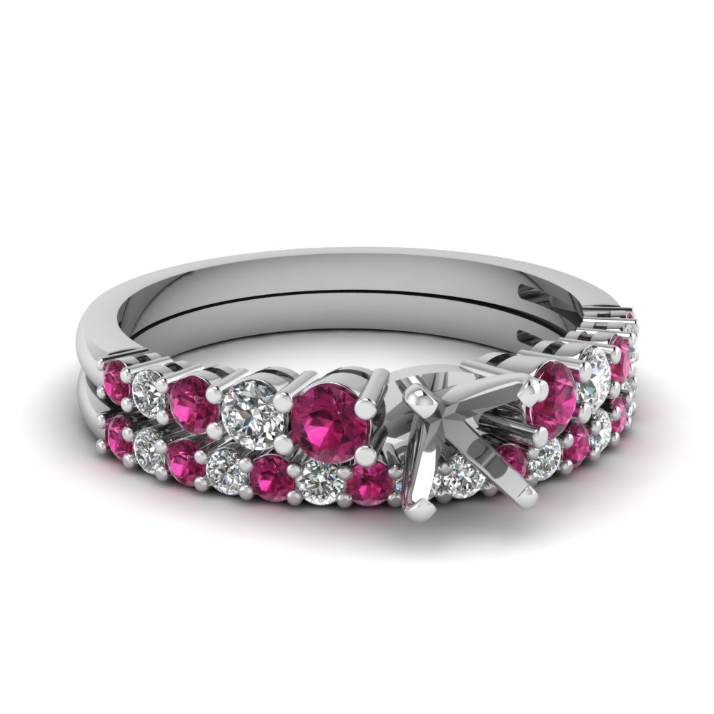 graduated semi mount diamond wedding ring set with pink sapphire in FDENS3056SMGSADRPI NL WG