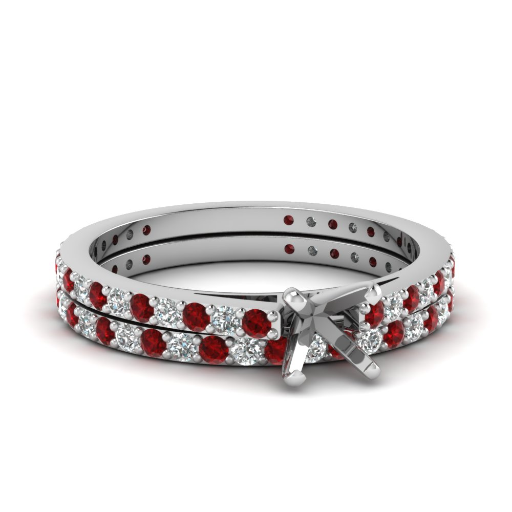 classic delicate semi mount diamond wedding ring set with ruby in FDENS1425SMGRUDR NL WG