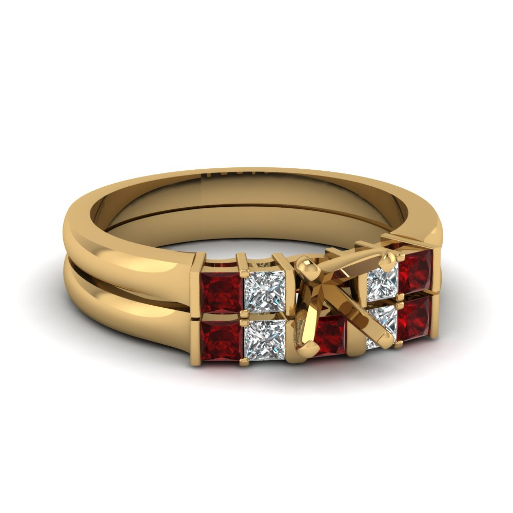 semi mount basket prong diamond wedding ring set with ruby in FDENS1172SMGRUDR NL YG