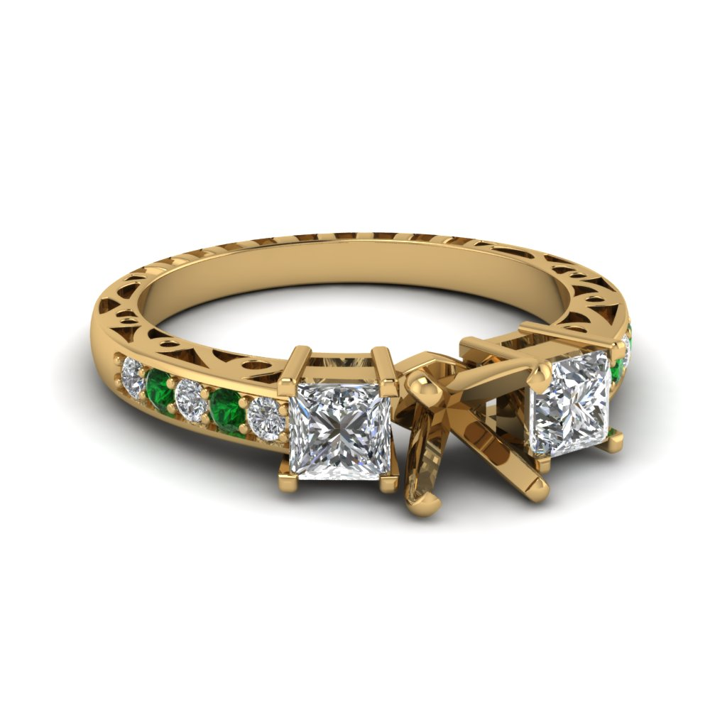 semi mount vintage 3 stone diamond engagement ring with emerald in FDENR1816SMRGEMGR NL YG.jpg