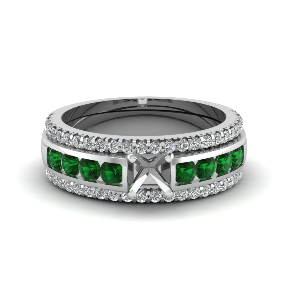 Semi Mount Trio Wedding Ring Sets With Green Emerald In 14K White Gold