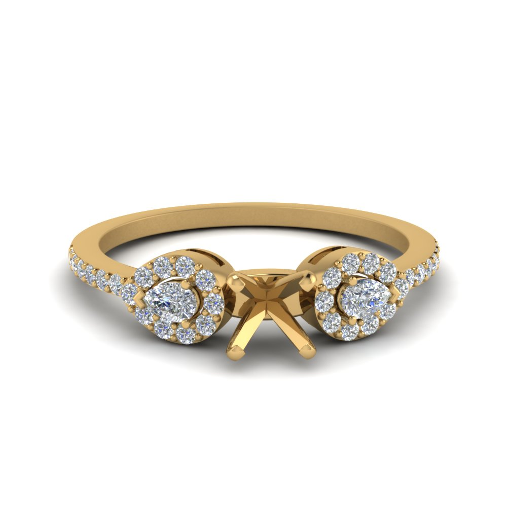 Semi Mount 3 Stone Diamond Halo Engagement Ring In 18K Yellow Gold