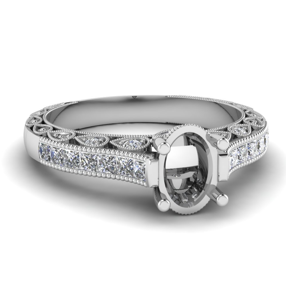 Milgrain Bordered Engagement Ring Settings With Princess Cut Side Stones.