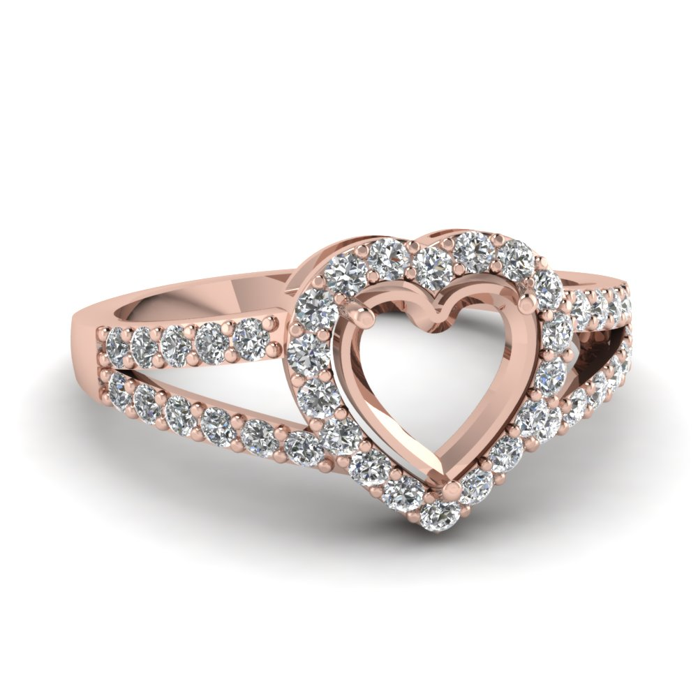 semi mount with white diamond engagement ring in 14K rose gold FD1034SMR NL RG