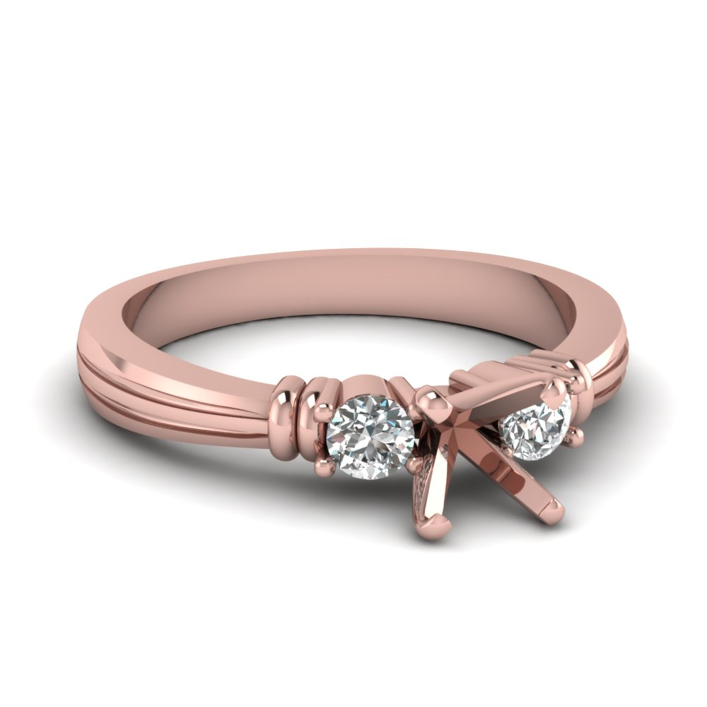 3 Stone Rose Gold Ring Settings