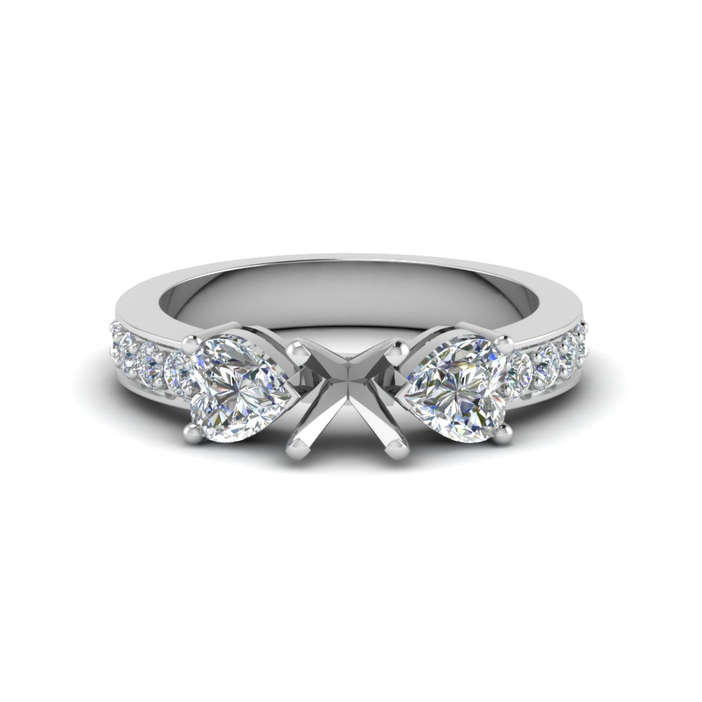 semi mount pave 3 stone diamond engagement ring in FD8031SMR NL WG