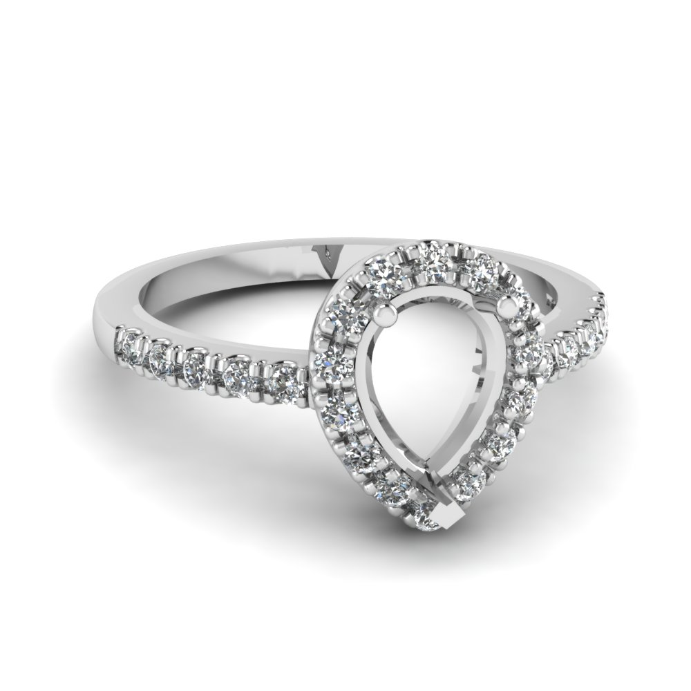 semi mount halo diamond engagement ring in FDENR509SMR NL WG