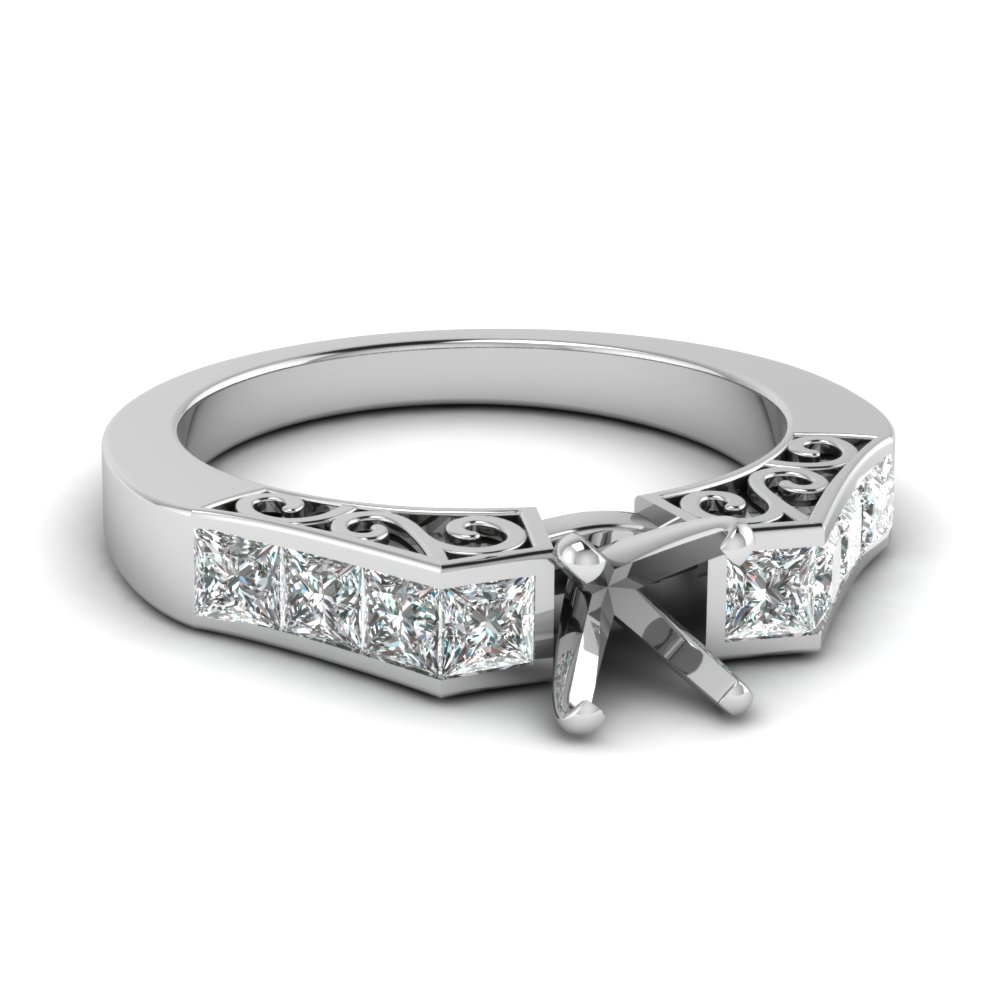 Channel Semi Mount Engagement Ring