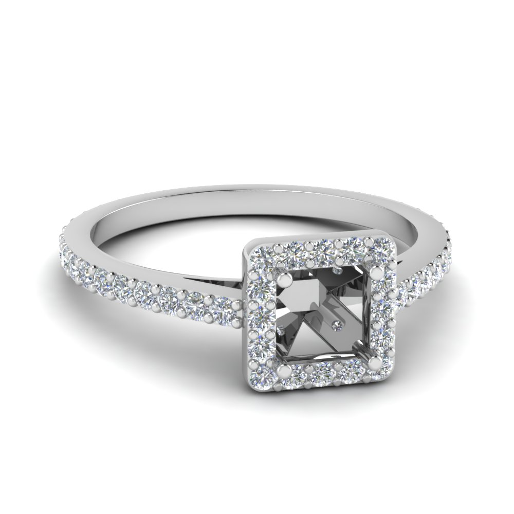 semi mount diamond floating square halo engagement ring in FDENR7896SMR NL WG