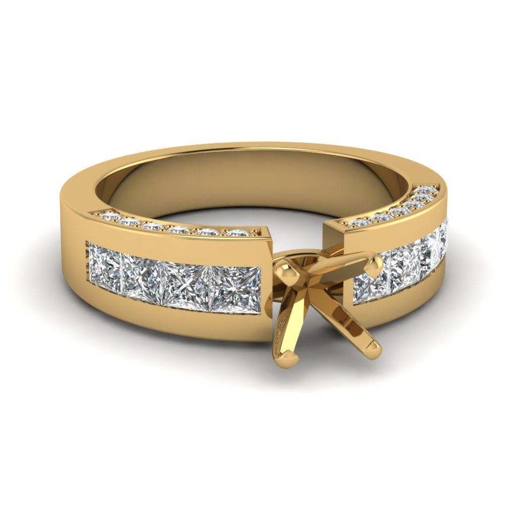 Semi Mount Princess Accents Engagement Ring Settings