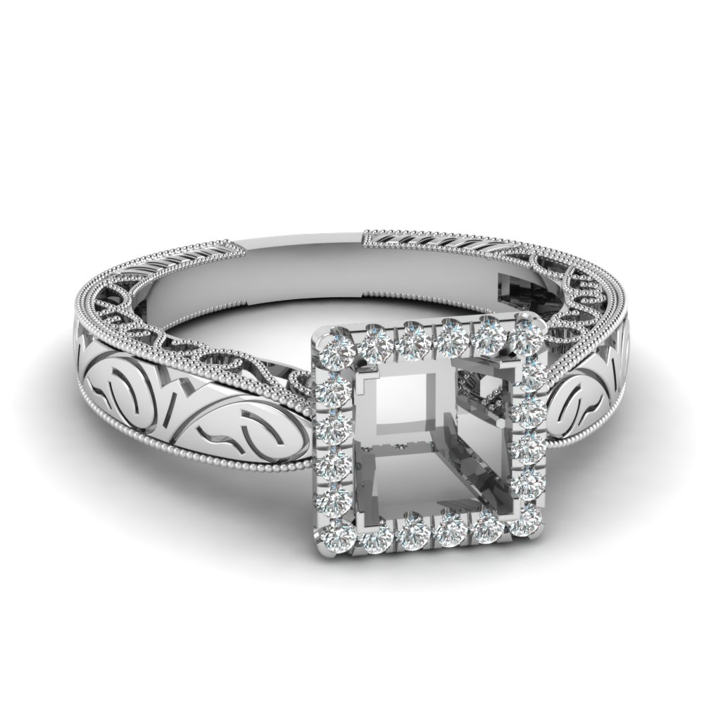 Semi Mount Halo Platinum Ring
