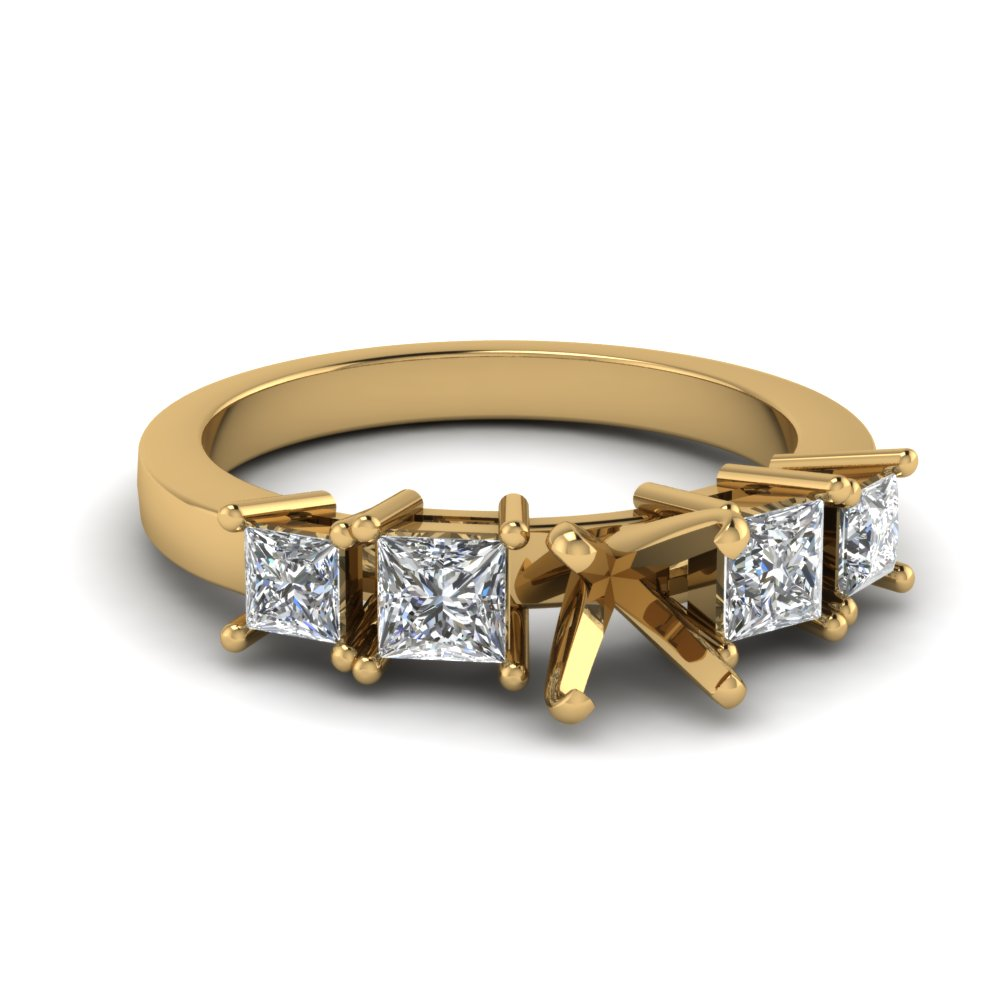 Radiant Cut Diamond Tetrad Facade Side Stone Ring In 14K Rose Gold