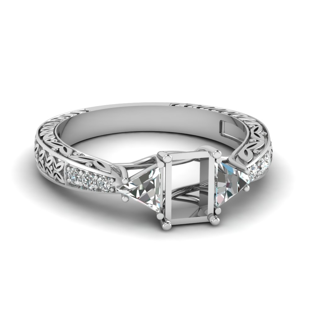 Twin Trillion Ring Setting