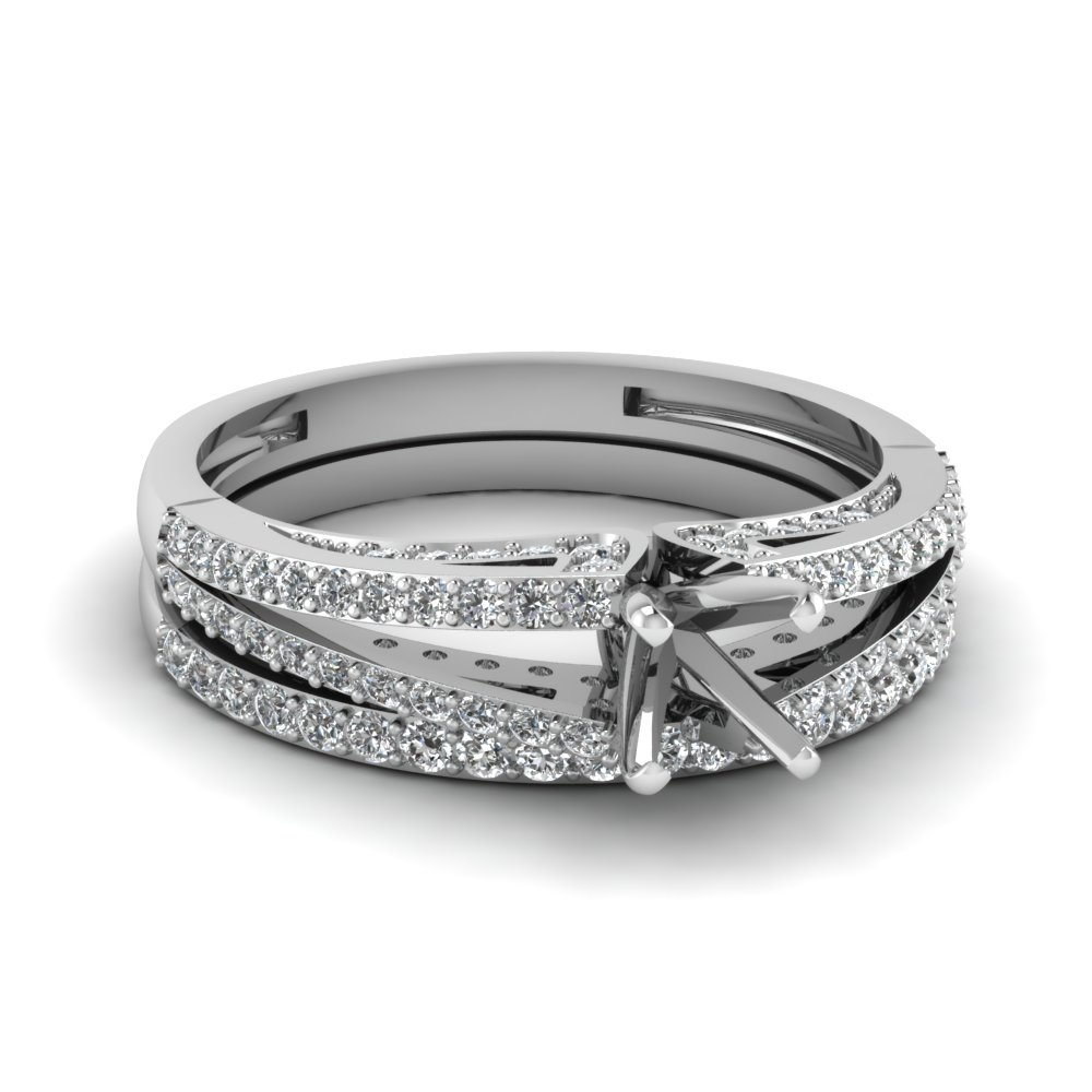 split semi mount diamond wedding ring set in fdens3131sm nl wg - Wedding Ring Settings