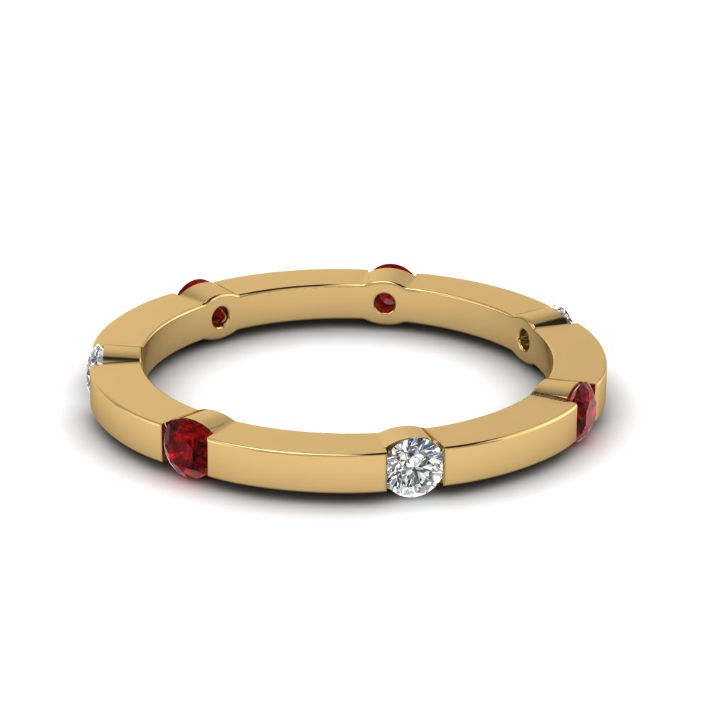 Gold Diamond & Ruby Eternity Band