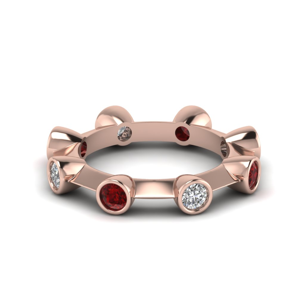 Ruby Bezel Set Eternity Band