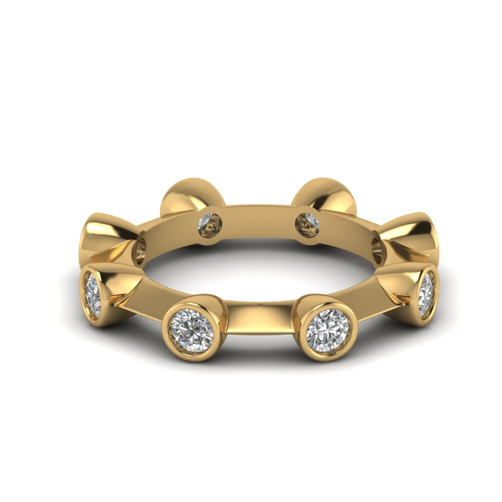 Yellow Gold Bezel Set Round Eternity Band