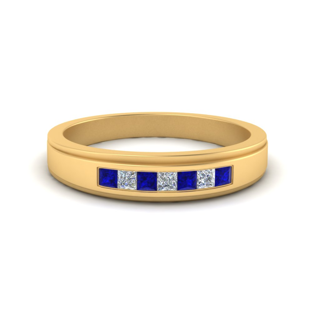 seven-stone-princess-cut-mens-wedding-ring-with-sapphire-in-FDM124203PRGSABL-NL-YG