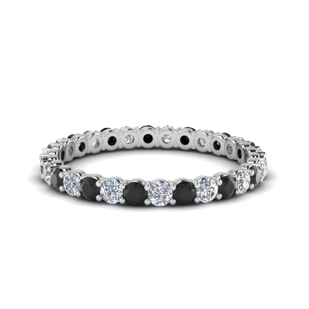 shared prong 0.75 ct. round eternity band with black diamond in 950 Platinum FDEWB8387 0.75CTBGBLACK NL WG