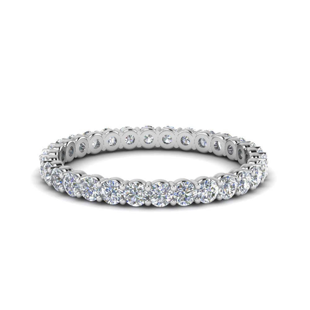 shared prong 0.75 ct. round eternity diamond band in 950 Platinum FDEWB8387 0.75CTB NL WG