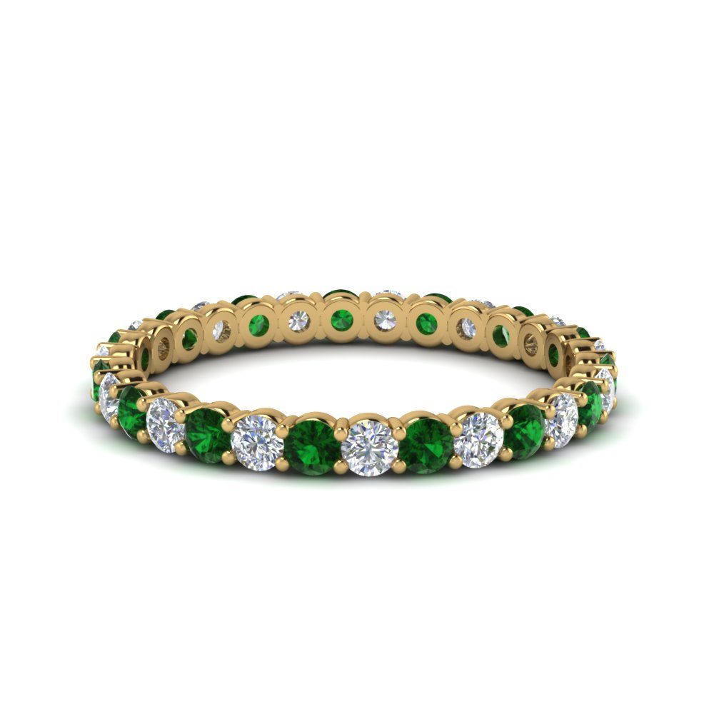3/4 Ct. Round Eternity Band With Emerald