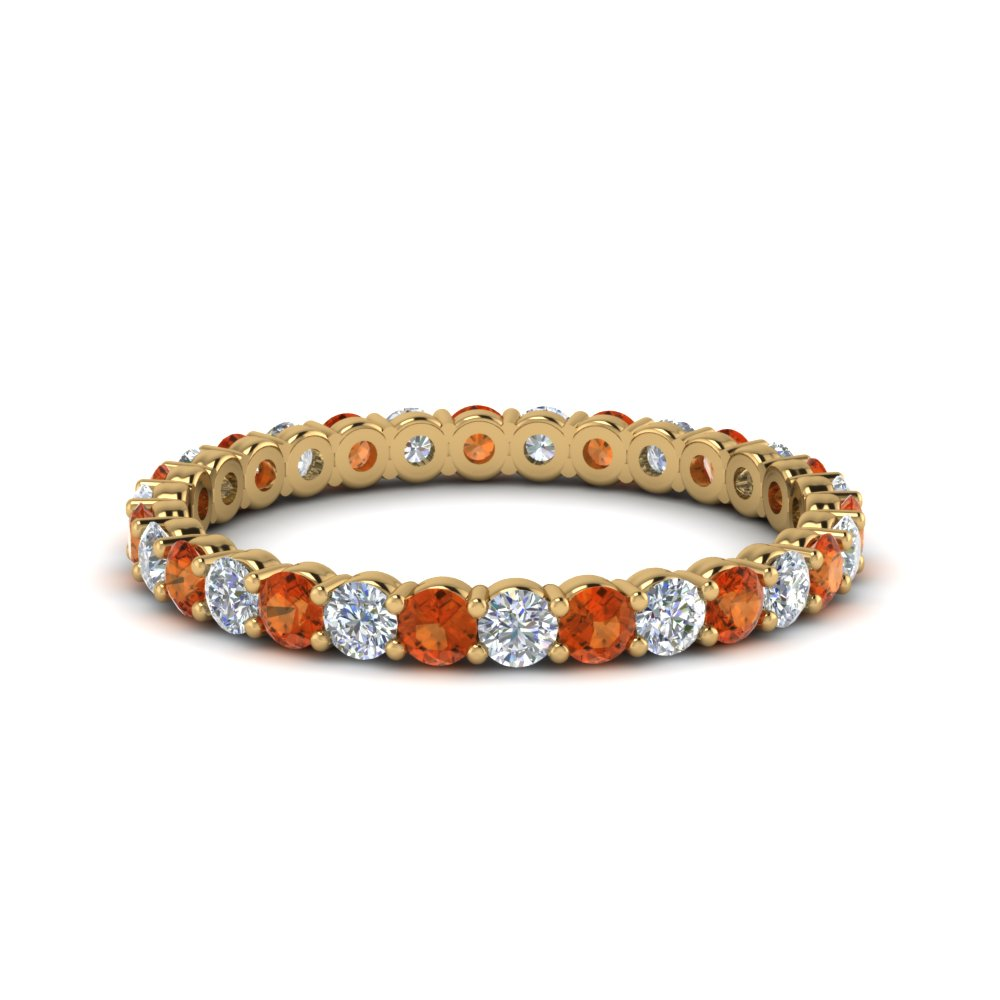 shared prong 0.75 ct. round eternity diamond band with orange sapphire in 14K yellow gold FDEWB8387 0.75CTBGSAOR NL YG