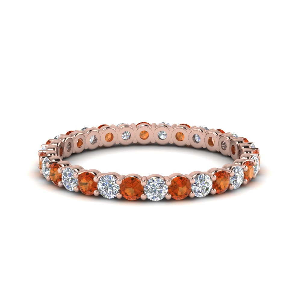 0.75 Ct. Round Orange Sapphire Eternity Band