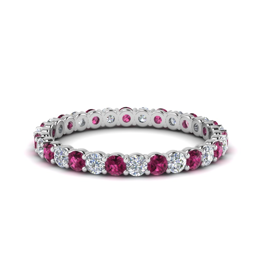Round Eternity Band With Pink Sapphire 0.75 Ctw.