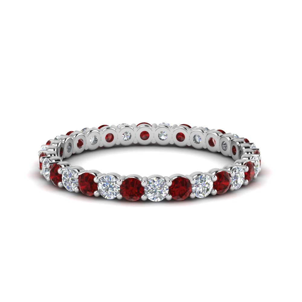 0.75 Ctw. Ruby With Round Eternity Band