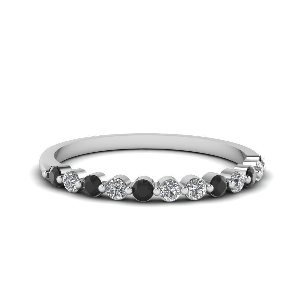 Shared prong band for women black diamond in platinum
