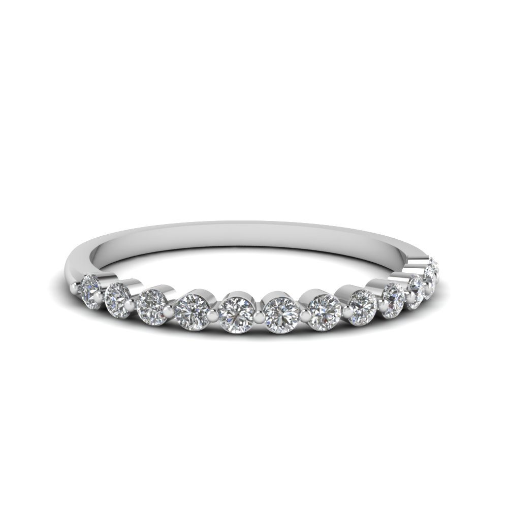 Shared Prong Diamond Band For Women In 14K White Gold