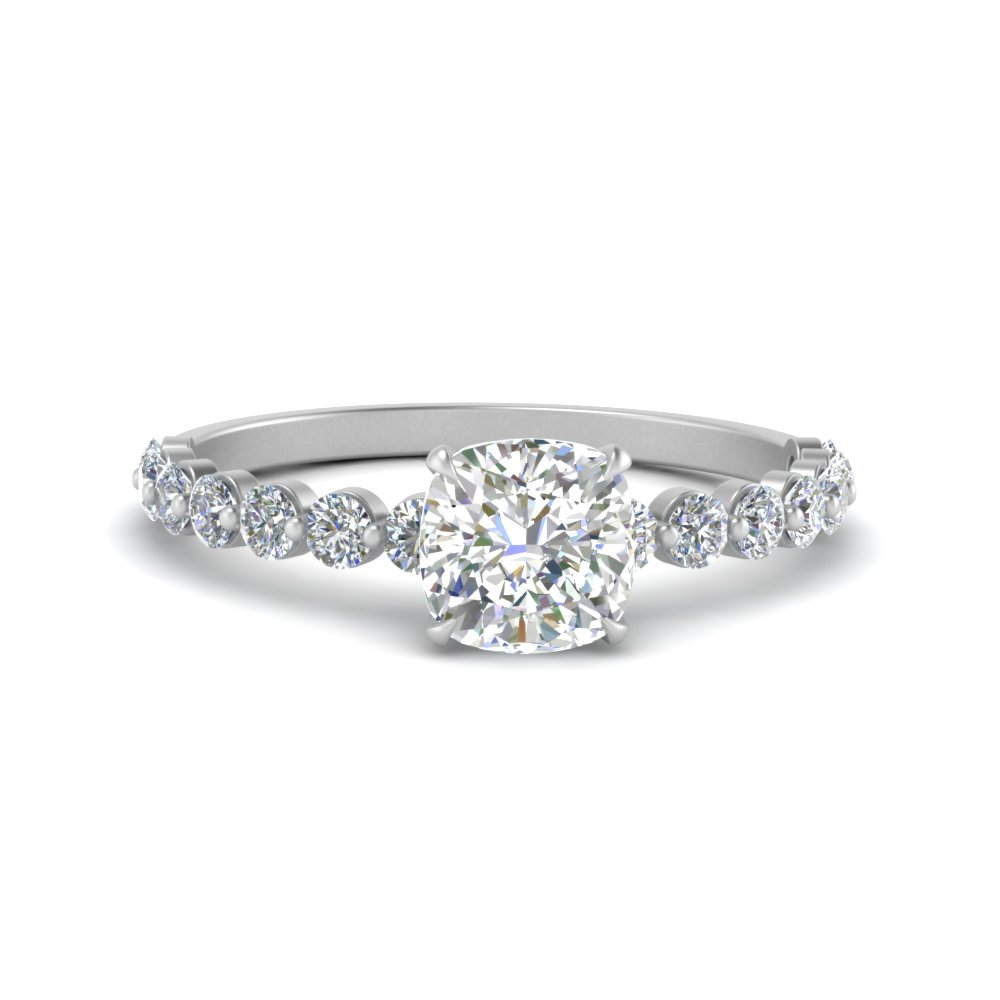 shared prong thin cushion engagement ring in white gold FDENS3023CUR NL WG