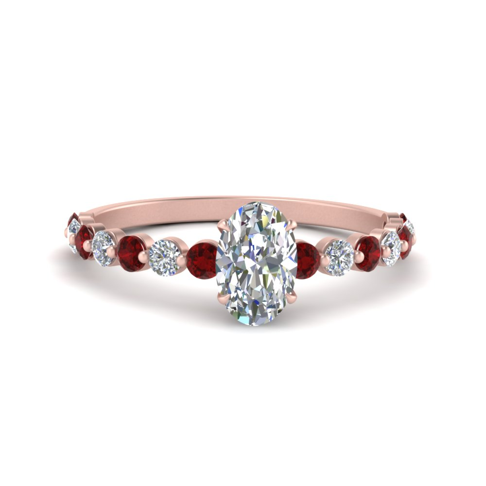 Shared Prong Thin Oval Engagement Ring With Ruby In Rose Gold Fascinating Diamonds