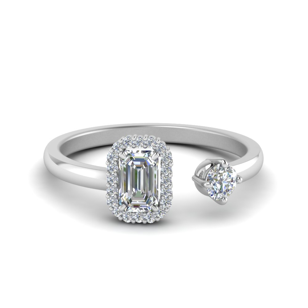 Two Stone Emerald Cut & Round Diamond Ring