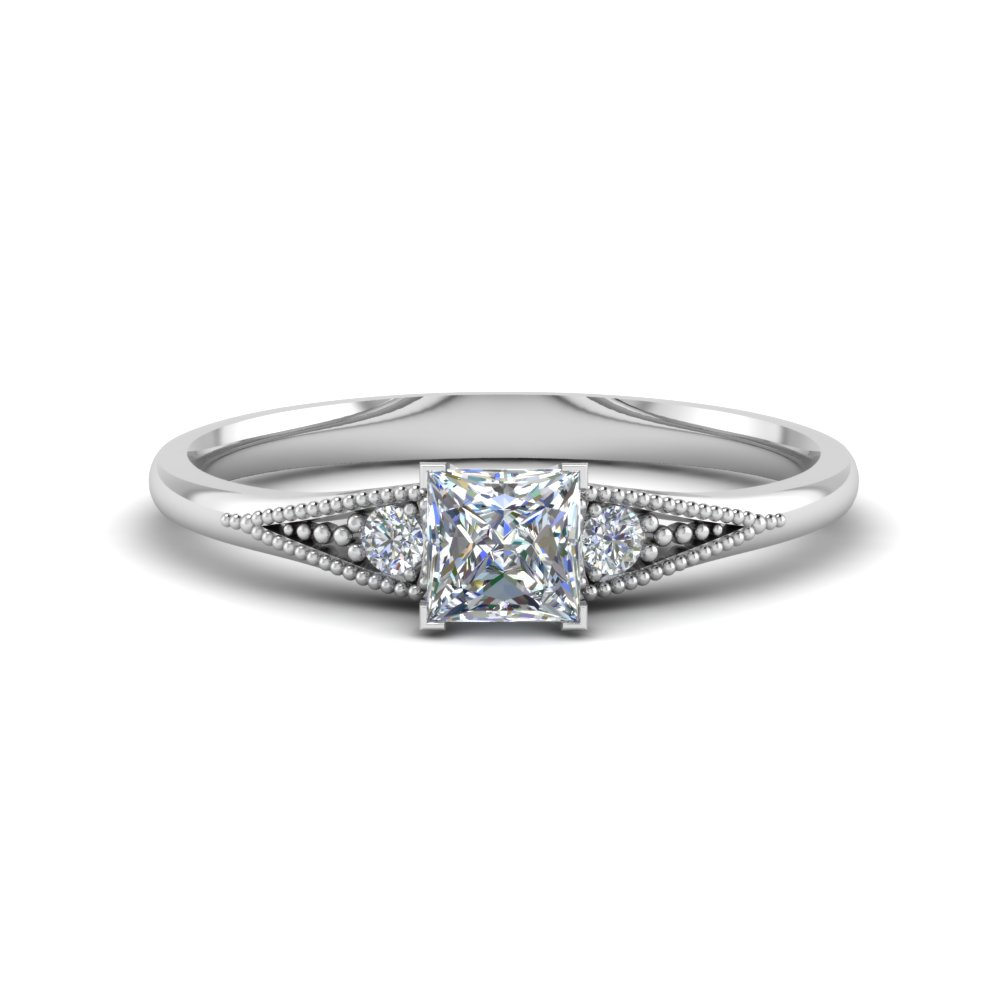 9aa9c2637f4b9 Simple 0.50 Carat Diamond 3 Stone Ring