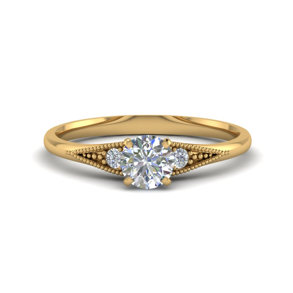 simple 0.50 carat diamond round cut 3 stone engagement ring in FD8073ROR NL YG