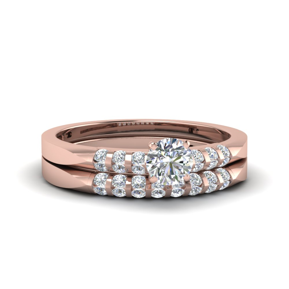 simple 1 carat round cut diamond matching wedding set in 14K rose gold FDENS3115RO NL RG