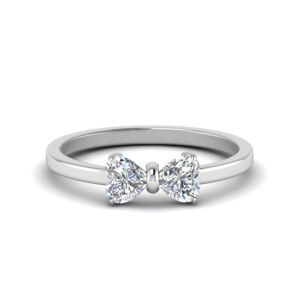 Bow Design 18k White Gold Two Stone Heart Diamond Ring
