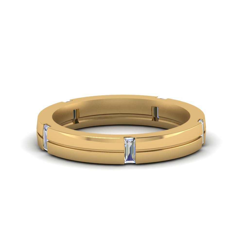 Simple Band With Baguette For Men