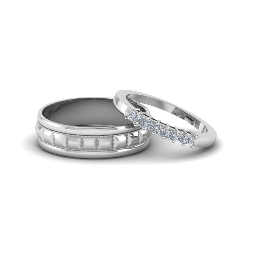 simple diamond matching weddings anniversary ring for couples in 14K white gold FD8171B NL WG