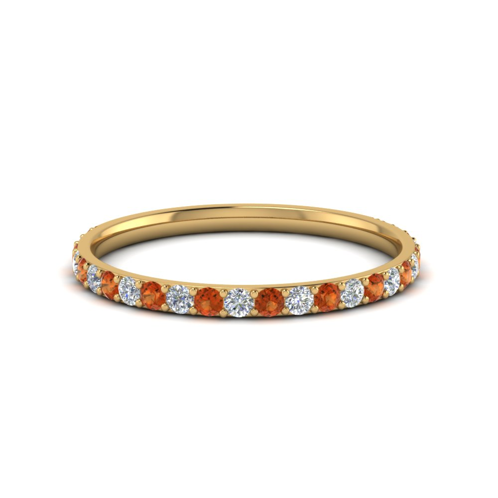 Simple Diamond Wedding Band With Orange Shire In Fd8490bgsaor Nl Yg