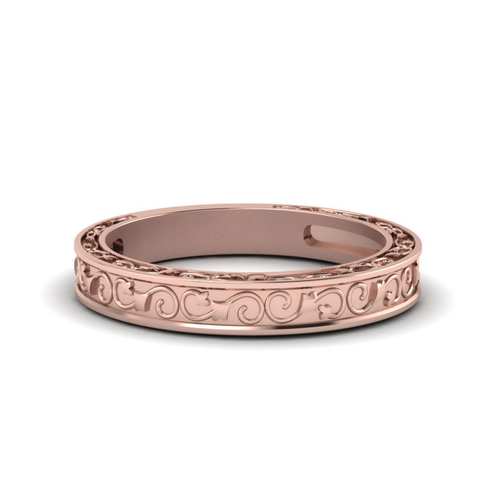 Hand Engraved Wedding Band In 14K Rose Gold Fascinating Diamonds