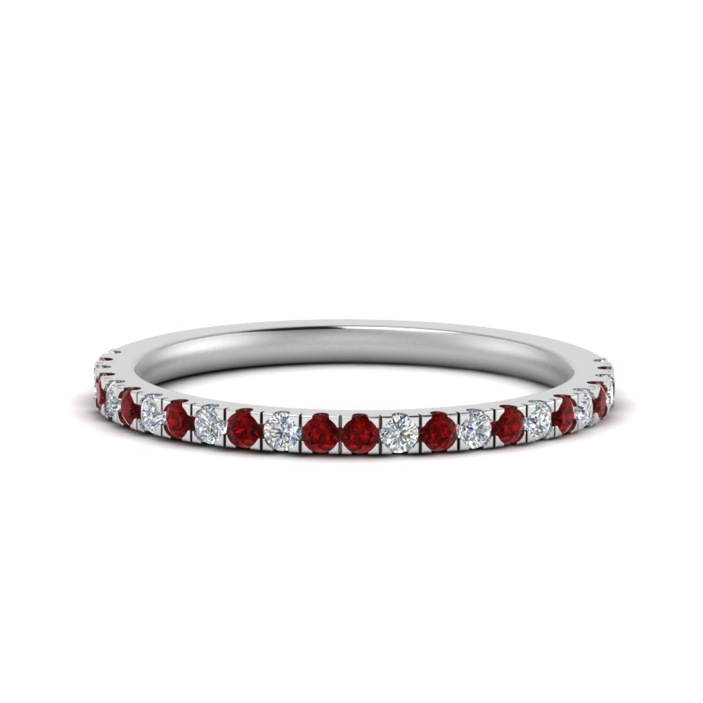 simple matching diamond wedding band with ruby in FD9128B1GRUDR NL WG.jpg