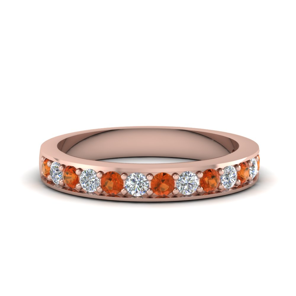 Simple Pave Diamond Band With Orange Sapphire In 14K Rose Gold